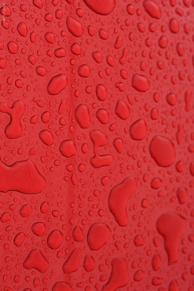 iphone 4 landscape wallpaper Waterdrops on Red
